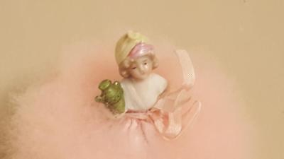Antique Real PINK Swan's Down Feather Powder Puff Doll / Half Doll Pin Cushion