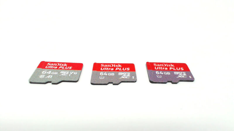 Lot of Three - 64GB SanDisk Ultra Plus Micro SD Memory Cards
