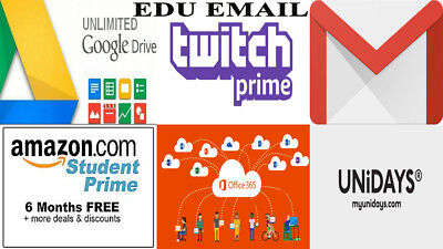 EDU Email Address  = Free 6 Months Amazon Prime+google drive unlimited+more.