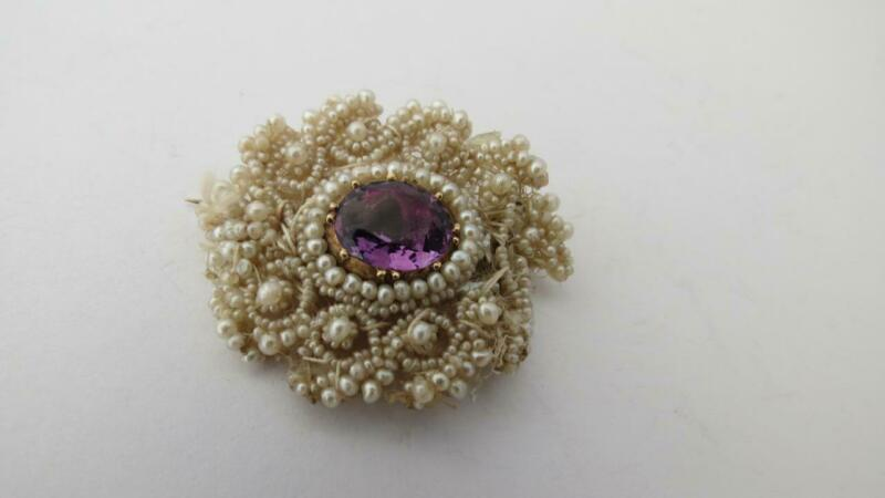 Antique Georgian Gold Amethyst Seed Pearl Mother Of Pearl Brooch Pin