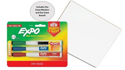 Expo Dry Erase Markers 3pk. With Magnetic Clip 8 X 11 Personal White Board