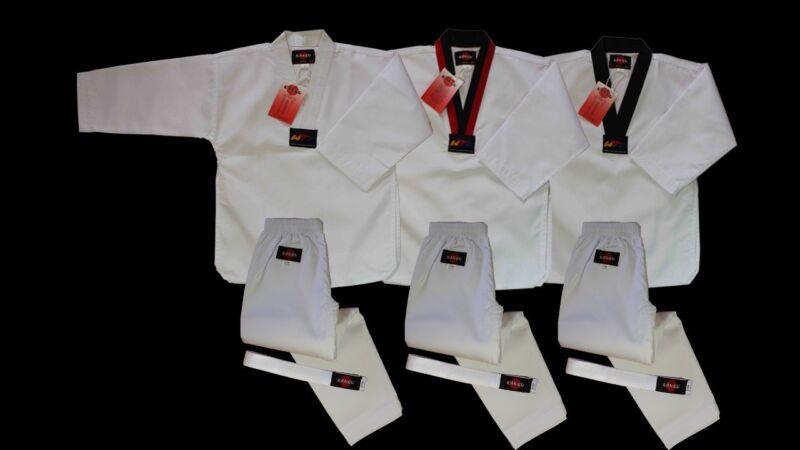 KANKU new Taekwondo  Uniform 7.5Oz Adult and Kids WTF, White, black, poom