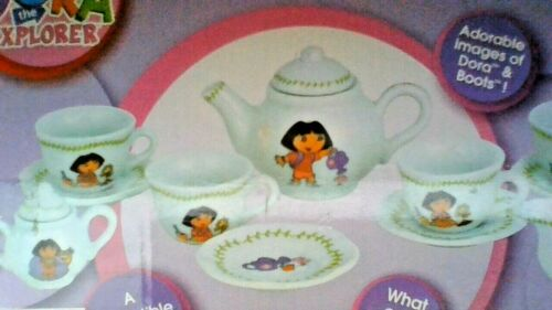 Dora the Explorer 13 Piece Porcelain Tea Set - 4 PLACE SETTINGS - KEEPSAKE