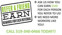 Immediate Openings in Stratford, ON – CALL 519-340-0466!