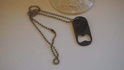 Marines Semper Fidelis White Black Logo Dog Tag Bottle Opener Mens Jewelry