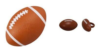 Football Pop Top Cake Topper PLUS 24 3D Football Cupcake Rings