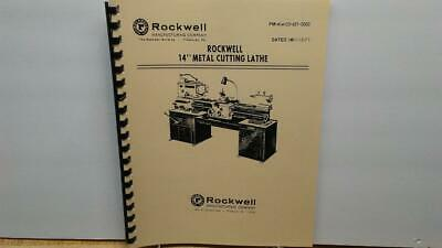 Rockwell 14 Metal Cutting Lathe Instructions Parts Manual