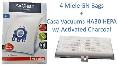 Miele Type GN + Casa Vacuums HA30 HEPA  4 Bags & 3 Filters C1 S400, S2, S600