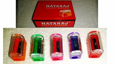 40x Nataraj Press-fit Pencil Sharpener 5 Color Home School Office Stationary