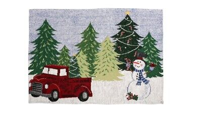 Little Red Truck with Christmas Trees Tapestry Placemats (Set Of 4) New 13x19 in