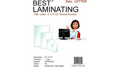 Best Laminating 7 Mil. Letter Laminating Pouches. 9 X 11.5 100 Pouchespack