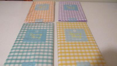 Vinyl Tablecloth Flannel Back Gingham Check Plaid 4 Colors Spring Summer NEW (Spring Tablecloth Vinyl)