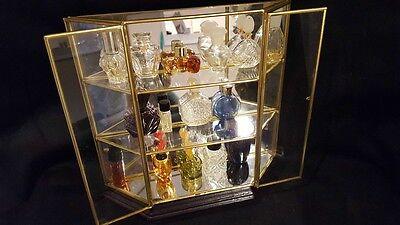 Brass Glass Table Top Curio Display Case Mirror Back W/15 mini perfume bottles