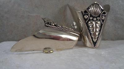 """opening 2.25 /""""  Set Southwestern Antique  Pewter Rope  Boot Tips"""