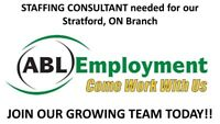Staffing Consultant Needed in Stratford, ON - APPLY TODAY!