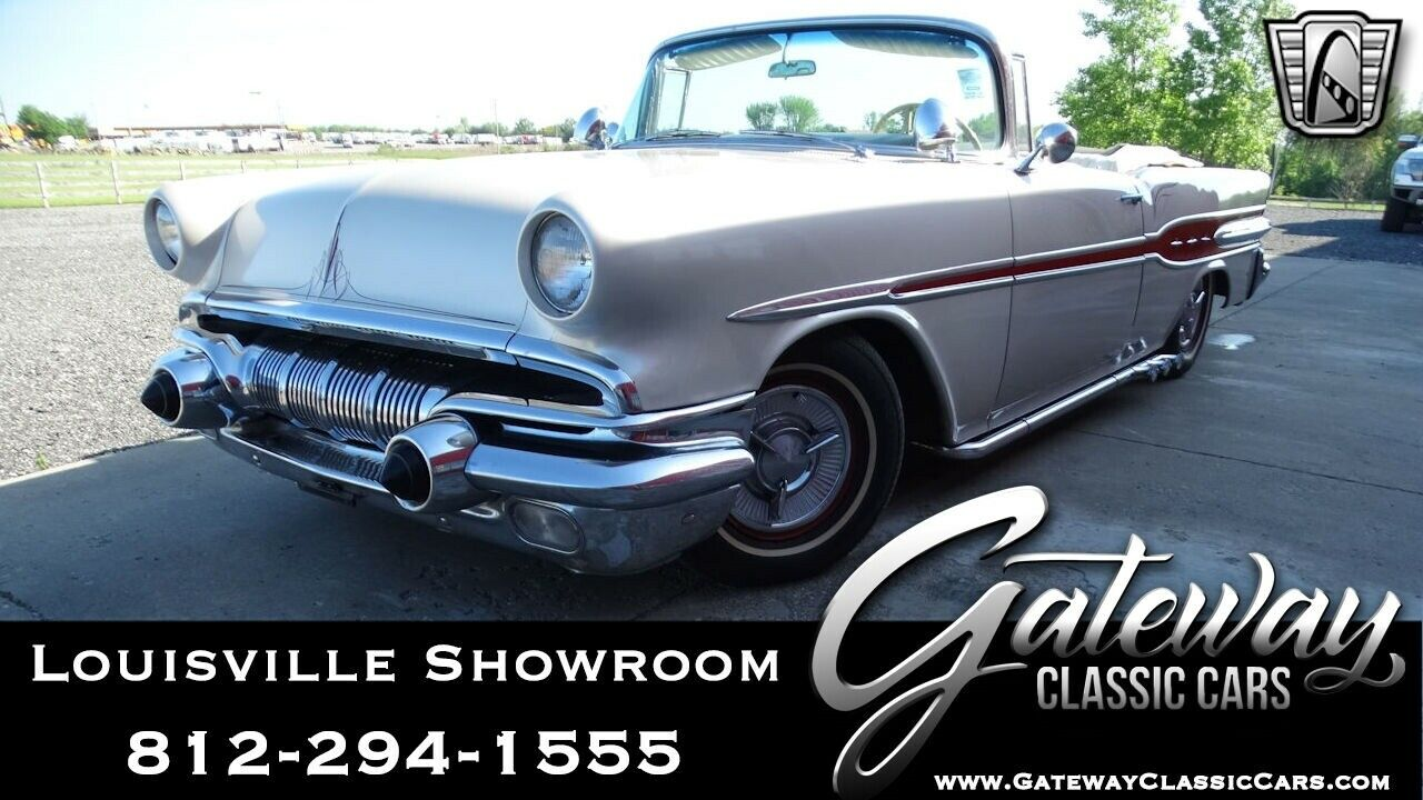 Pearl White 1957 Pontiac Star Chief Convertible 350 CID V8 3 Speed Automatic Ava