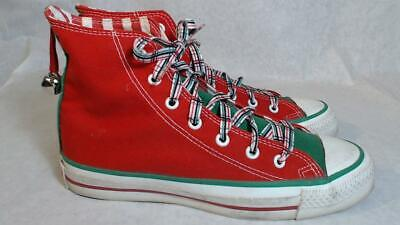 Vtg Converse Christmas Shoes Mens 5 High Top Made in USA Red Green White Bells