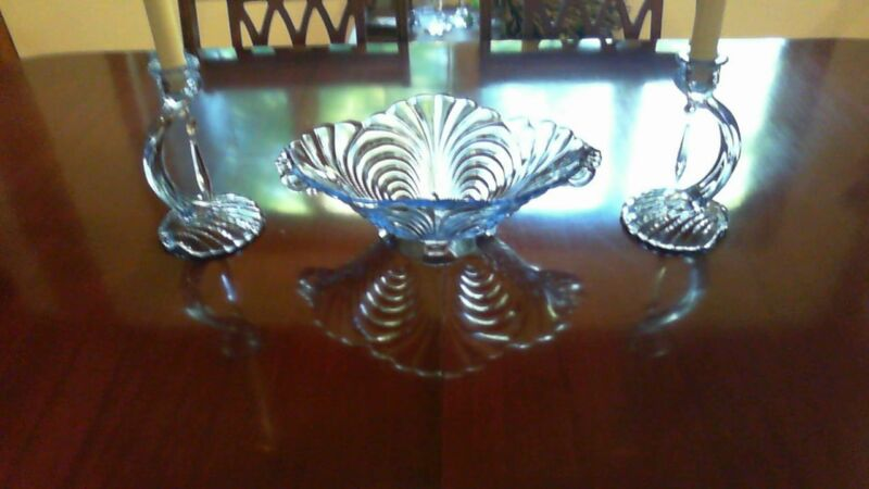 "MOONLIGHT BLUE 3 PIECE CONSOLE SET ""CAPRICE"" CAMBRIDGE GLASS ELEGANT"""