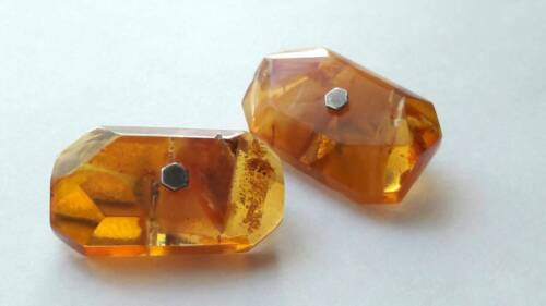 Vintage massive amber cufflinks with silver 875 USSR