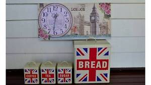 Tea/Coffee/Sugar Tins and Bread Bin and Clock (UK themed) Enoggera Brisbane North West Preview