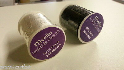 MERLIN INVISIBLE MAGIC CLEAR SEWING THREAD NYLON FILAMENT QUILTING 200M SPOOL