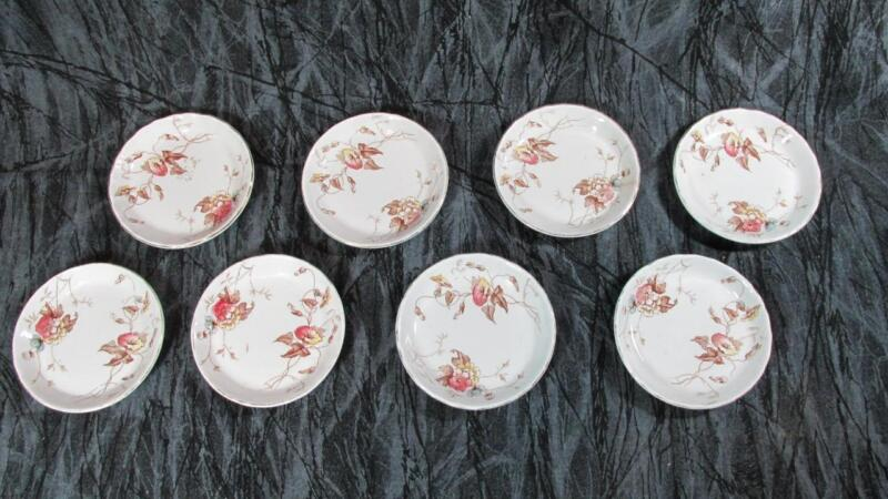 Set 8 Antique JHW & Sons Butter Pats, BRIGHTON, Hanley England