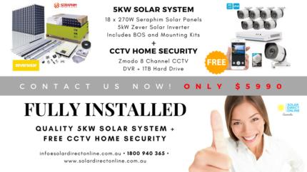 5kW Home Solar System + COMPLETE HOME CCTV System - 1 MEGA DEAL!!