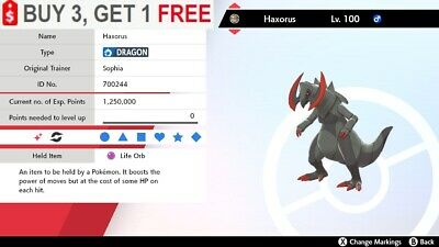 ✨ Shiny Haxorus ✨ Perfect IV Pokemon Sword and Shield 🚀Fast Delivery🚀