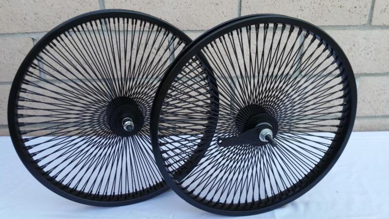 "20"" Lowrider Bicycle Dayton BLACK Wheels 144 Spokes Front & Rear Set 20x2.125"