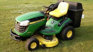 John deere D130 lawn tractor with grass catch and trailer