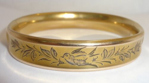 Antique Victorian  FMCo Gold Filled Etched Bangle Bracelet w/ Swallow Bird