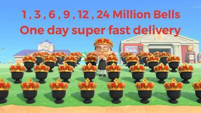 ANIMAL CROSSING NEW HORIZONS BELLS 1 3 6 9 12 24 MILLION ONE HOUR FAST DELIVERY