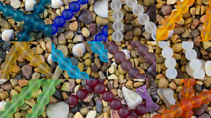 10mm-Round-Beach-Sea-Glass-Beads-You-Pick-Cobalt-Amethyst-Ruby-Tangerine-Aqua
