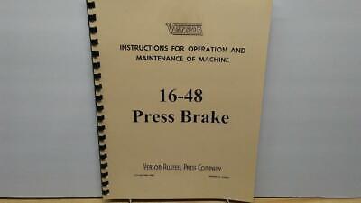 Verson 16-48 Press Brake Operation Maintenance Manual
