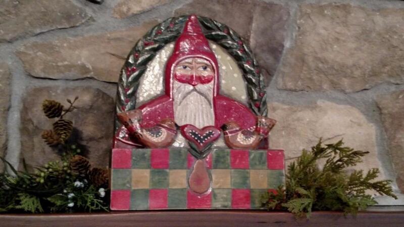 "Rare 10"" P Schifferl MIDWEST Folk Art SANTA Birds CHRISTMAS Card Holder Box"
