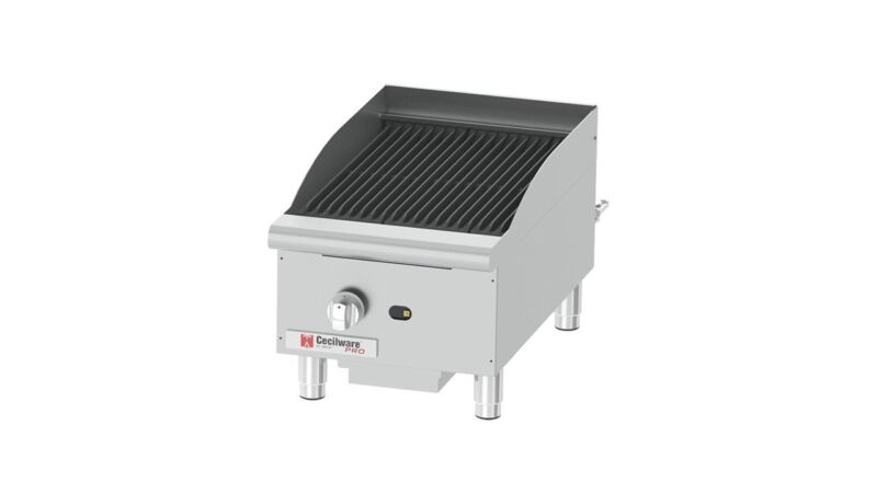 "Gmcw Ccp15 15"" W Counterop Single Burner Gas Charbroiler - 40 Kbtu"