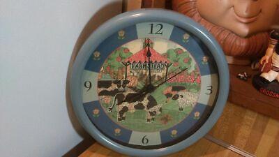 "Vintage Quartz Farmstead Fresh Produce 10"" Wall Clock,cows,works great,vg!"