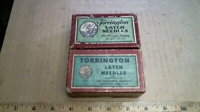 2 1920s Torrington Latch Needle boxes (only) antique vintage old advertising CT