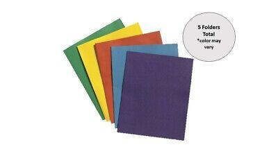 Two-pocket Folders. Assorted Colors. 5 Folders Total.
