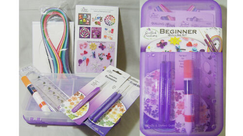 Quilled Creations Quilling Kit Beginner Box - Slotted Tool Tweezers Circle Sizer