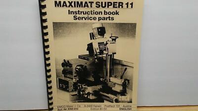 Emco Maximat Super 11 Instructions Parts Manual