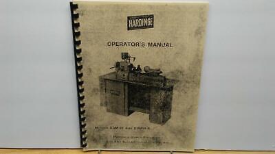 Hardinge Dsm-59 Dsm-59r Super Precision Bar Operators Manual