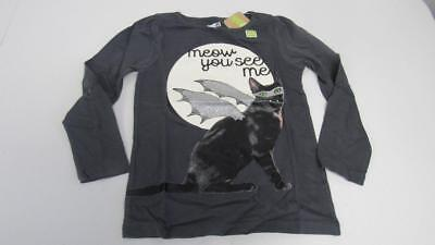 CRAZY 8 Halloween Gray Shirt Top Cat Meow You See Me Size 5-6 Small NEW TL16 (Crazy 8 Halloween)