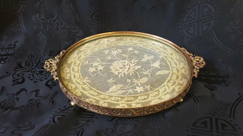 Antique E & J B Empire Art Gold Vanity Tray w/Lace insert