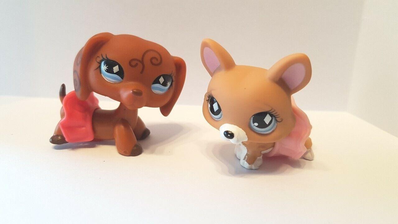 Figurine petshop  original chien dog teckel daschund 640 + corgi 724 pet shop
