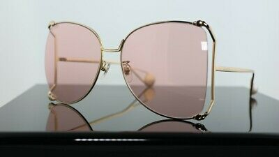Gucci GG0252S 004 Pink / Pink Gold Lens Women Sunglasses 100% (Gucci Butterfly Sunglasses)