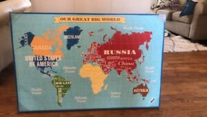 Canvas map of world