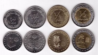 LIBYA COMPLETE COIN SET 50+100 Dirhams + 1/4 + 1/2 Half Dinar 2014 UNC LOT of 4 ()