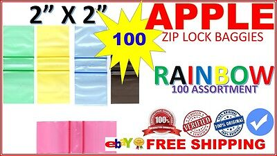 100 2 X 2 2020 Apple Baggies Mini Ziplock Jewelry Bags Clear Pick Color