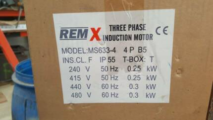 Motor Induction,Brand:Remx , 3 phase